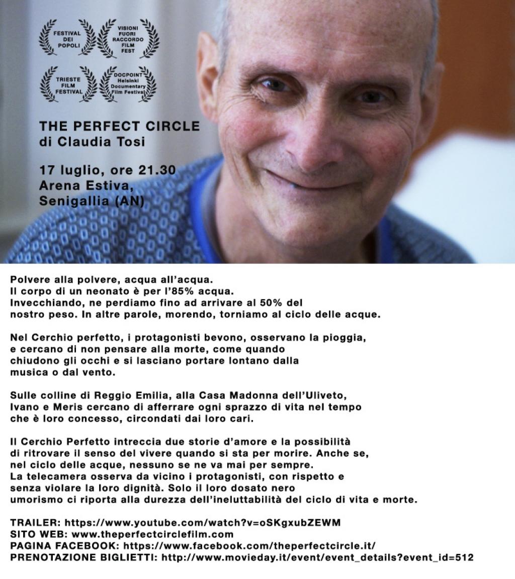 """Il film """"The Perfect Circle"""" all'Arena estiva di Senigallia"""