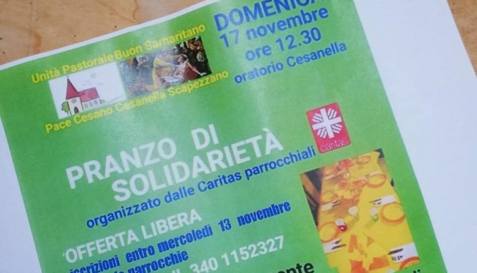 Pranzo con i poveri per l'Unità pastorale Buon samaritano