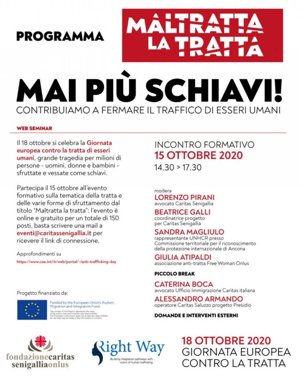 La Giornata europea contro la tratta di esseri umani